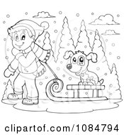 Clipart Outlined Boy Pulling A Dog On A Sled Through The Snow Royalty Free Vector Illustration