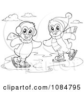 Clipart Outlined Penguins Ice Skating Royalty Free Vector Illustration