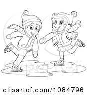 Clipart Outlined Boy And Girl Ice Skating Royalty Free Vector Illustration