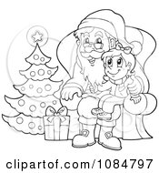 Clipart Outlined Christmas Girl Sitting On Santas Lap Royalty Free Vector Illustration