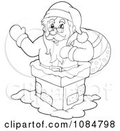 Clipart Outlined Santa Clause Waving In A Chimney Royalty Free Vector Illustration
