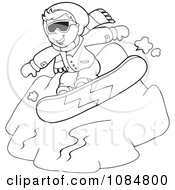 Outlined Boy Snowboarding Down A Hill