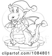 Outlined Dragon Wearing Winter Accessories