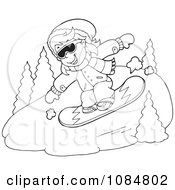 Outlined Snowboarding Down A Hill