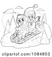 Clipart Outlined Penguins Sledding Royalty Free Vector Illustration