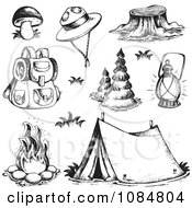 Clipart Sketched Drawings Of Camping Gear Royalty Free Vector Illustration by visekart