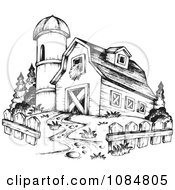 Clipart Sketched Drawing Of A Barn And Silo Royalty Free Vector Illustration by visekart
