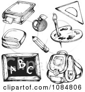 Clipart Sketched Drawings Of School Supplies Royalty Free Vector Illustration