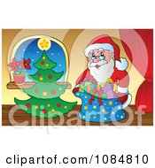 Clipart Santa With A Christmas Tree In A Home 2 Royalty Free Vector Illustration