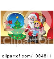 Clipart Girl Sitting On Santas Lap By A Christmas Tree Royalty Free Vector Illustration