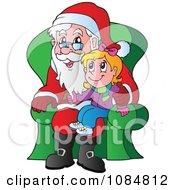 Christmas Girl Sitting On Santas Lap