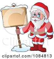 Clipart Santa Standing With A Sign In The Snow Royalty Free Vector Illustration