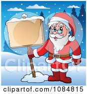 Clipart Santa Standing In The Snow With A Sign Royalty Free Vector Illustration