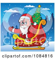 Clipart Santa Waving In His Sleigh With A Christmas Tree Royalty Free Vector Illustration