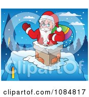 Clipart Santa Waving In A Chimney On Christmas Eve Royalty Free Vector Illustration