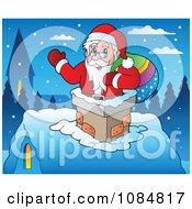 Santa Waving In A Chimney On Christmas Eve