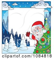 Clipart Christmas Santa Frame With Copyspace 4 Royalty Free Vector Illustration