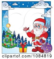 Clipart Christmas Santa Frame With Copyspace 3 Royalty Free Vector Illustration