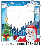 Clipart Christmas Santa Frame With Copyspace 1 Royalty Free Vector Illustration