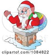 Santa Clause Waving In A Chimney