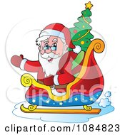 Clipart Waving Santa In His Sleigh With A Christmas Tree Royalty Free Vector Illustration