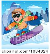 Boy Snowboarding At A Resort