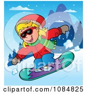 Girl Snowboarding At A Resort