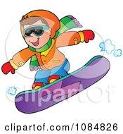 Boy Snowboarding In An Orange Jacket