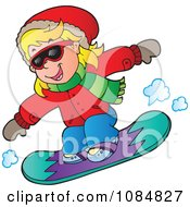 Girl Snowboarding In An Red Jacket