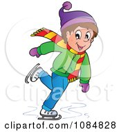 Clipart Boy Ice Skating Royalty Free Vector Illustration