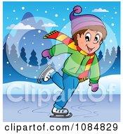Clipart Happy Boy Ice Skating Royalty Free Vector Illustration