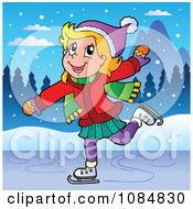 Clipart Happy Girl Ice Skating Royalty Free Vector Illustration