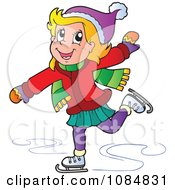 Clipart Girl Ice Skating Royalty Free Vector Illustration
