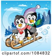 Clipart Penguins Sledding Royalty Free Vector Illustration
