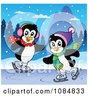 Clipart Penguins Ice Skating Royalty Free Vector Illustration