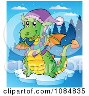 Winter Dragon Wearing A Scarf Mittens And Hat