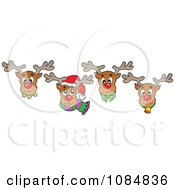 Four Christmas Reindeer Faces