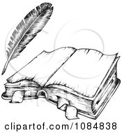 Clipart Sketched Drawing Of An Open Book And Feather Quill Royalty Free Vector Illustration