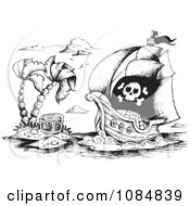 Clipart Sketched Drawing Of A Pirate Ship And Treasure Island Royalty Free Vector Illustration