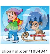 Clipart Boy Pulling A Dog On A Sled Through The Snow Royalty Free Vector Illustration