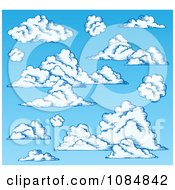 Clipart Blue Sky With Puffy Clouds Royalty Free Vector Illustration