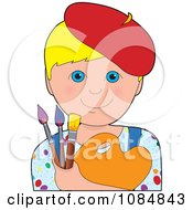 Clipart Blonde Boy Artist Wearing Red Beret And Holding Paint Brushes And Palette Royalty Free Vector Illustration by Maria Bell