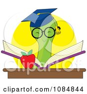Clipart Smart Bookworm Reading A Book By An Apple Royalty Free Vector Illustration by Maria Bell