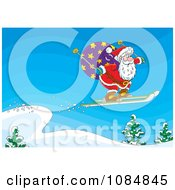 Clipart Santa Skiing Off Of A Ledge Royalty Free Vector Illustration