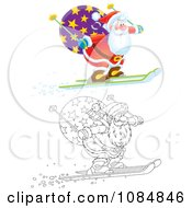 Clipart Outlined And Airbrushed Santas Skiing Off Of A Ledge Royalty Free Illustration