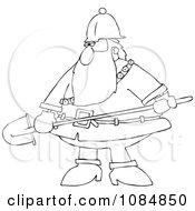 Outlined Santa Carrying A Shovel