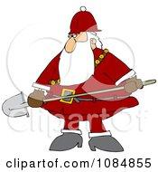 Santa Carrying A Shovel