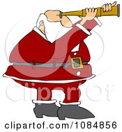 Clipart Santa Viewing Through A Scope Royalty Free Vector Illustration
