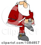 Santa Putting His Boots On