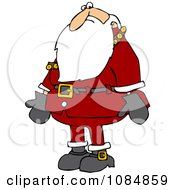 Clipart Santa Nervously Looking Down Royalty Free Vector Illustration